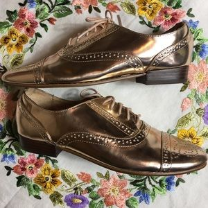 J. Crew Rose Gold Metallic Oxford Shoes Mirror